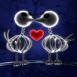 Squelettes de poussins amoureux