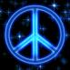 Peace & Love néon bleu scintillant