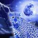 L�opard bleu sous les �clairs