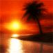 Mer calme sous un coucher de soleil