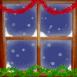 Il neige derrière la vitre