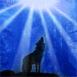 Loup hurlant � la lune
