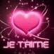 """""""Je T'aime"""" sur un coeur rose lumineux"""