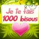 """Coeur sur fond fleuri """"je te fais 1000 bisous"""""""