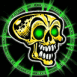 Crâne irradiant vert fluo