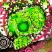 Crâne vert en puzzle