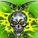 Crâne radioactif aux yeux rouges