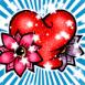 Coeur galaxie et fleurs