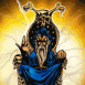 Mage bleu siégeant sur son trône