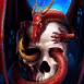 Dragon enlaçant un crâne