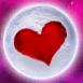 Coeur rouge sur la pleine lune