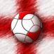 Logo Angleterre : Ballon de foot sur drapeau