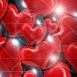 coeurs rouges dans des bulles