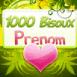 """Coeur sur fond fleuri """"1000 bisous"""""""