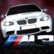 BMW M3 au phares brillants sur ciel étoilé