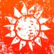 Soleil stylis� sur fond orange grunge