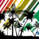 Paysage de plage devant fond multicolore