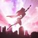 Super héroïne en vol sur coucher de soleil mauve
