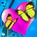 Couple de papillons sur coeur