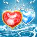 Deux coeurs rubis et saphir