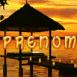 Coucher de soleil tropical au bord de l'eau