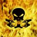 Crâne d'alien dans les flammes