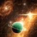 Planète verte au milieu d'étoiles