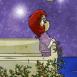 Rêveuse au bord d'une terrasse