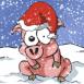 Hiver: Cochon dans la neige