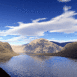Lac et collines en 3D