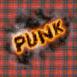 Mention Punk  en feu sur motif ecossais