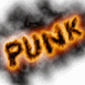 Mention Punk en feu sur fond blanc