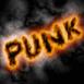 Mention Punk en feu sur fond noir