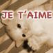 """Chaton blanc sur le dos, sépia, mention """"Je t'aime"""""""