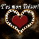 """Bijou coeur dor� """"T'es mon tr�sor"""""""