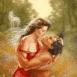 Couple s'embrassant dans un champ