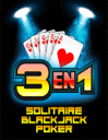 3 en 1: Solitaire, blackjack, poker